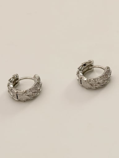 White K Brass Cubic Zirconia Geometric Ethnic Huggie Earring