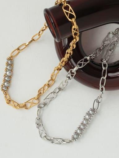 Brass Imitation Pearl Locket Vintage Necklace