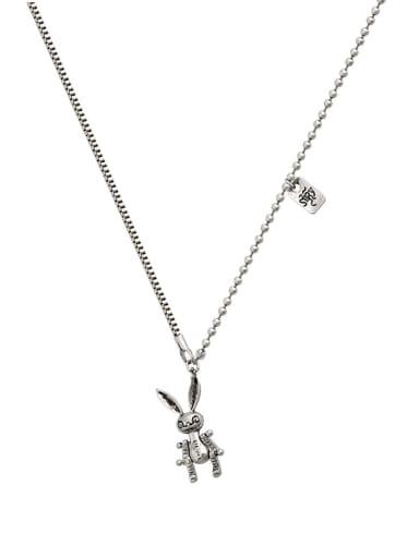 Brass Cubic Zirconia Locket Vintage rabbit Long Strand Necklace