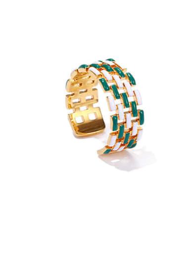 White green Brass Enamel Geometric Vintage Band Ring