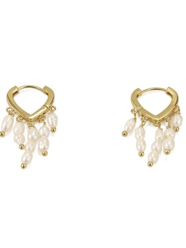 Brass Freshwater Pearl Tassel Vintage Huggie Earring