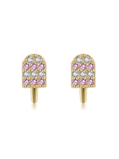 Small ice cream Brass Cubic Zirconia Multi Color Irregular Cute Stud Earring