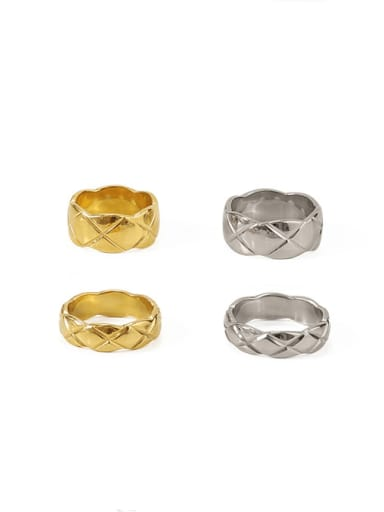 Titanium Geometric Lozenge Vintage Band Ring
