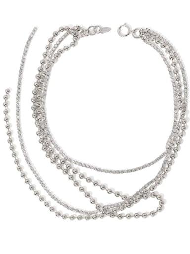 Brass Cubic Zirconia Round Vintage Long Strand Necklace