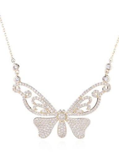 golden Brass Cubic Zirconia Butterfly Minimalist Necklace