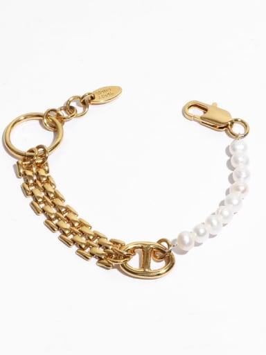 Brass Freshwater Pearl Geometric Hip Hop Link Bracelet