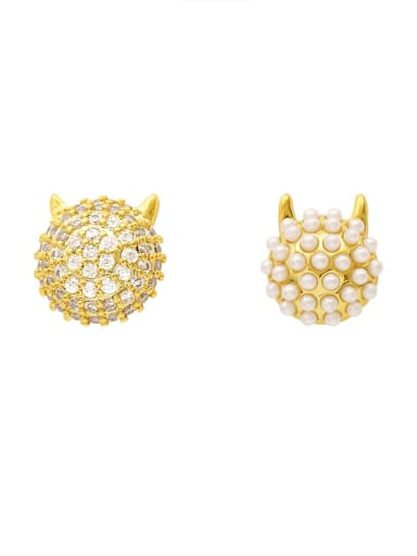 Brass Imitation Pearl Geometric Ethnic Stud Earring