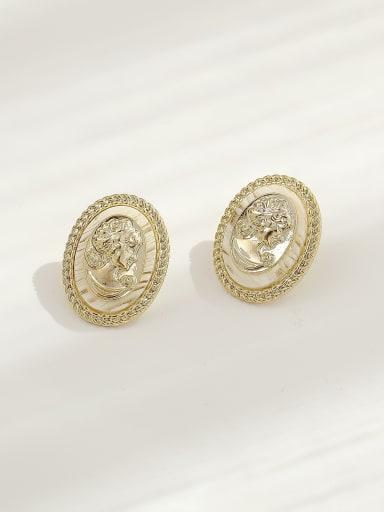 Brass Shell Oval Vintage Stud Earring