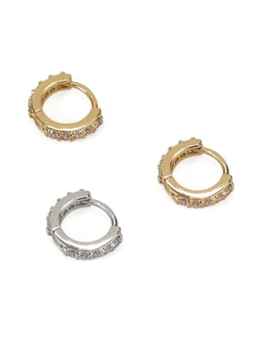 Brass Cubic Zirconia Round Minimalist Huggie Earring
