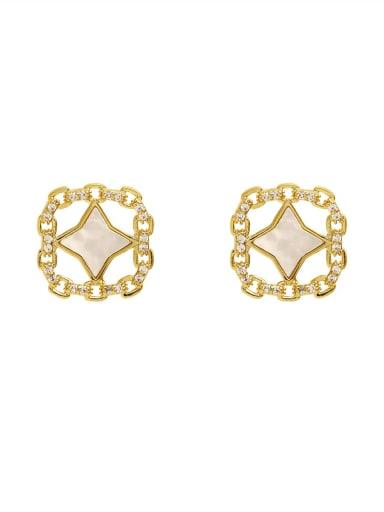 Brass Shell Geometric Bohemia Stud Earring