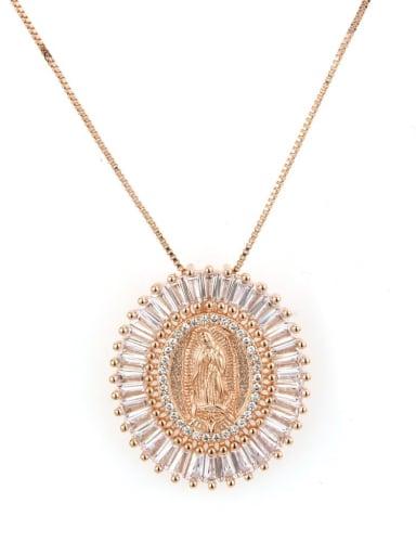 Rose gold plating Brass Cubic Zirconia Religious Ethnic Regligious Necklace