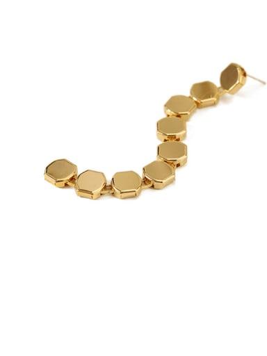 golg Ear Studs Brass  Smooth Geometric Vintage Drop Long Earring