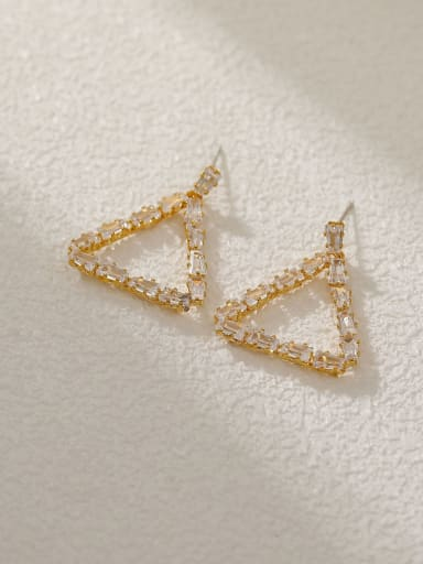 14k Gold Brass Cubic Zirconia Triangle Vintage Drop Earring