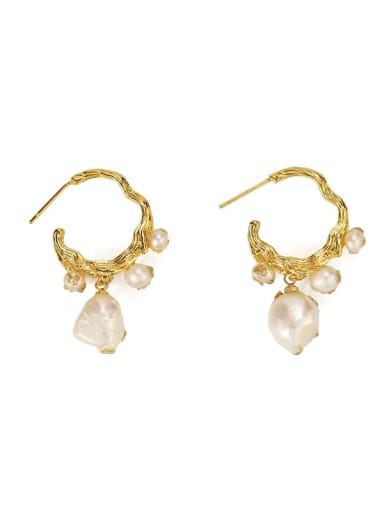 Brass Freshwater Pearl Irregular Vintage Hook Earring
