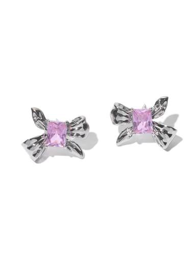Pink zircon Brass Cubic Zirconia Bowknot Minimalist Stud Earring