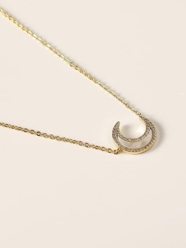 Brass Shell Moon Minimalist Necklace