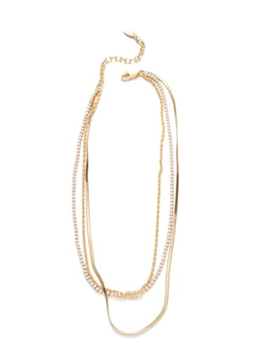 golden Brass Cubic Zirconia Geometric Hip Hop Multi Strand Necklace