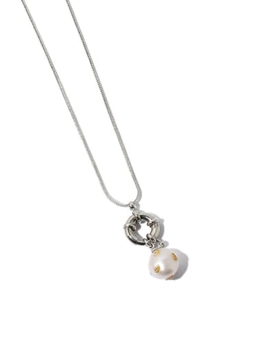 Silver (detachable) Brass Freshwater Pearl Irregular Vintage Necklace