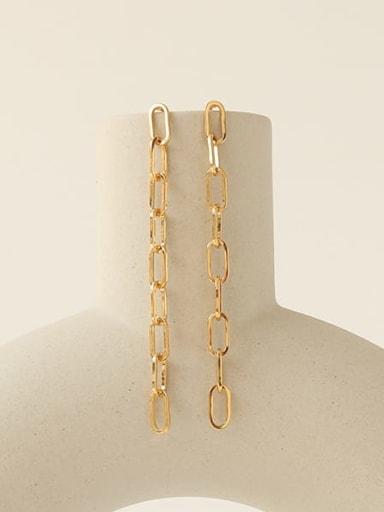 Brass Hollow Geometric Chain Vintage Drop Earring