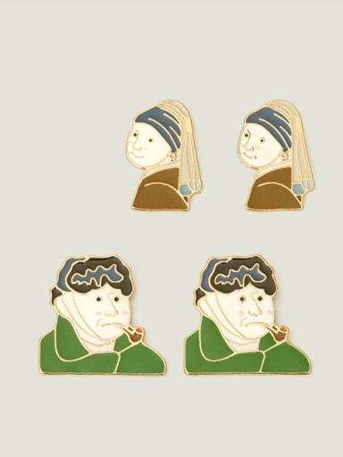Alloy Enamel Irregular Ethnic Stud Earring