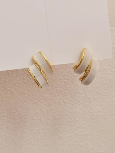 Brass Cats Eye Geometric Minimalist Drop Earring