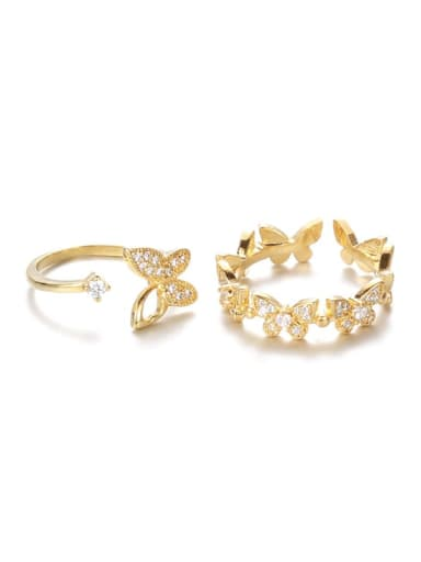 Brass Cubic Zirconia Butterfly Minimalist Band Ring