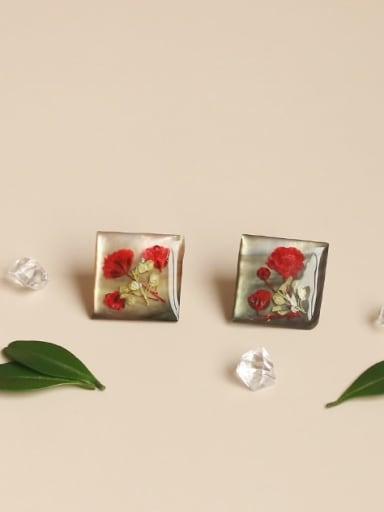 Alloy Resin Rosary Cute Stud Earring