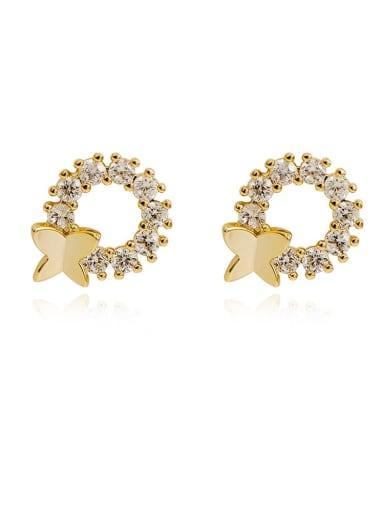 Copper Cubic Zirconia Geometric Dainty Stud Earring