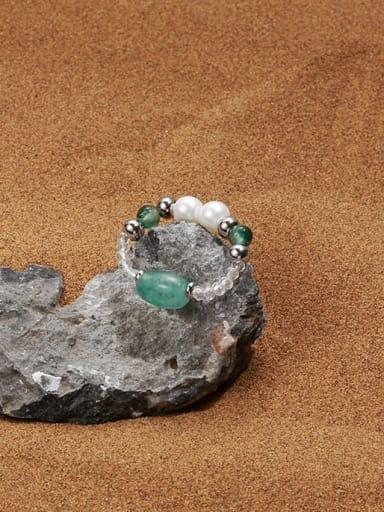 Brass Imitation Pearl Round Minimalist Band Ring