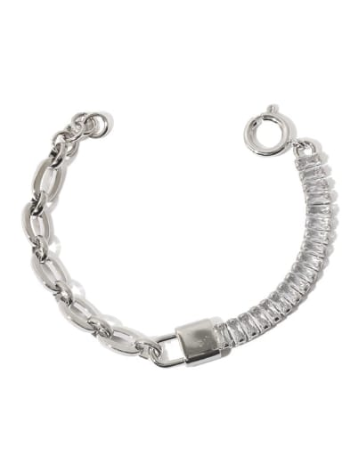 Platinum Bracelet Brass Cubic Zirconia Geometric Vintage Bracelet
