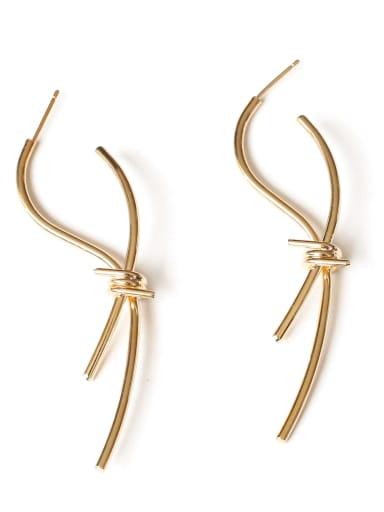 Brass Line Bowknot Minimalist  Drop Earring
