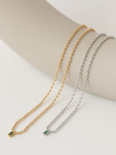 Brass Bead Chain   Minimalist Geometric Pendant Necklace
