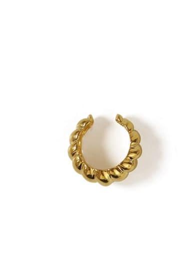 golden Brass Geometric Hip Hop Clip Earring