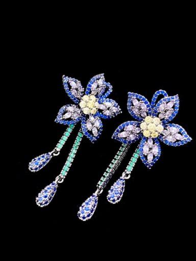 blue Brass Cubic Zirconia Flower Vintage Cluster Earring