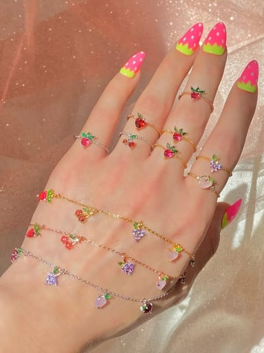 Brass Cubic Zirconia Multi Color Friut Cute Band Ring