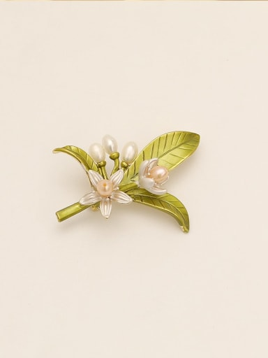 Brass Imitation Pearl Geometric Ethnic Brooch