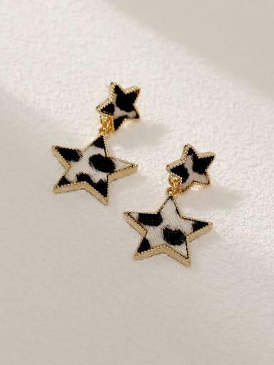 14k Gold White Brass Star Vintage Drop Earring