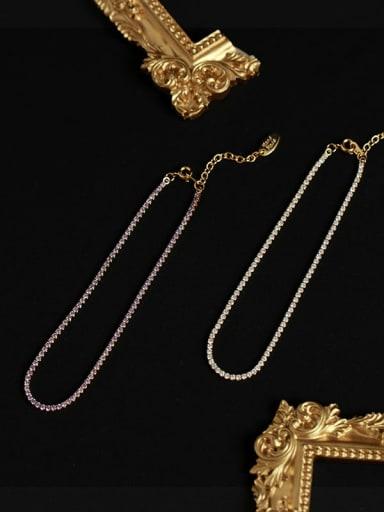 Brass Cubic Zirconia Geometric Minimalist Anklet