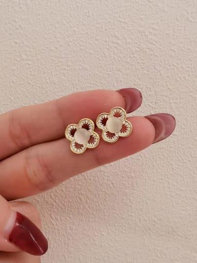 14k Gold Brass Cats Eye Clover Minimalist Stud Earring
