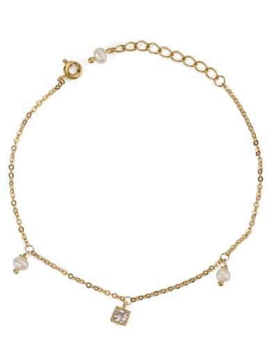Square zircon Brass Cubic Zirconia Star Vintage Link Bracelet