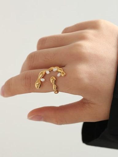 Brass Freshwater Pearl Irregular Vintage Band Ring