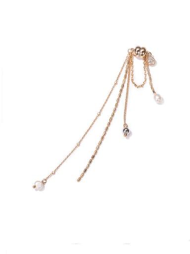 Sales of zircon pearl ear bone clip Brass Freshwater Pearl Tassel Minimalist Threader Earring(single)