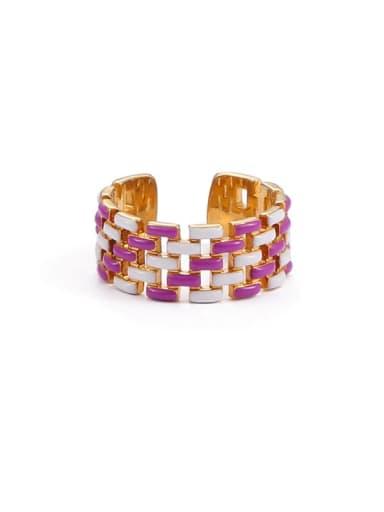 Purple white drop oil Brass Enamel Geometric Hip Hop Band Ring