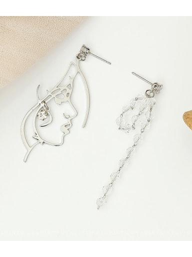 White K Copper Crystal Tassel Minimalist Drop Earring