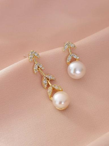 Brass Imitation Pearl  Asymmetry Geometric Minimalist Drop Earring