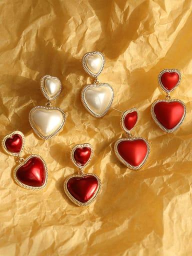 Brass Enamel Heart Ethnic Drop Earring