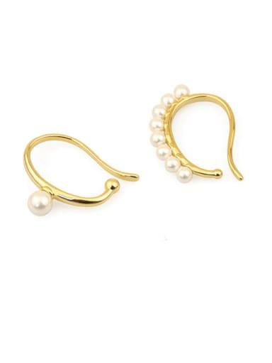 Brass Imitation Pearl Geometric Minimalist Clip Earring single