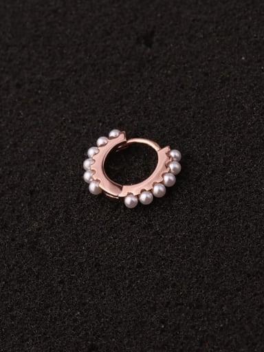 rose gold Brass Imitation Pearl Geometric Hip Hop Single Earring