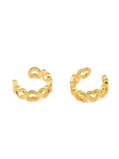 Brass Hollow Heart Minimalist Clip Earring