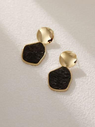 14k Gold +Black Brass Resin Geometric Vintage Drop Earring